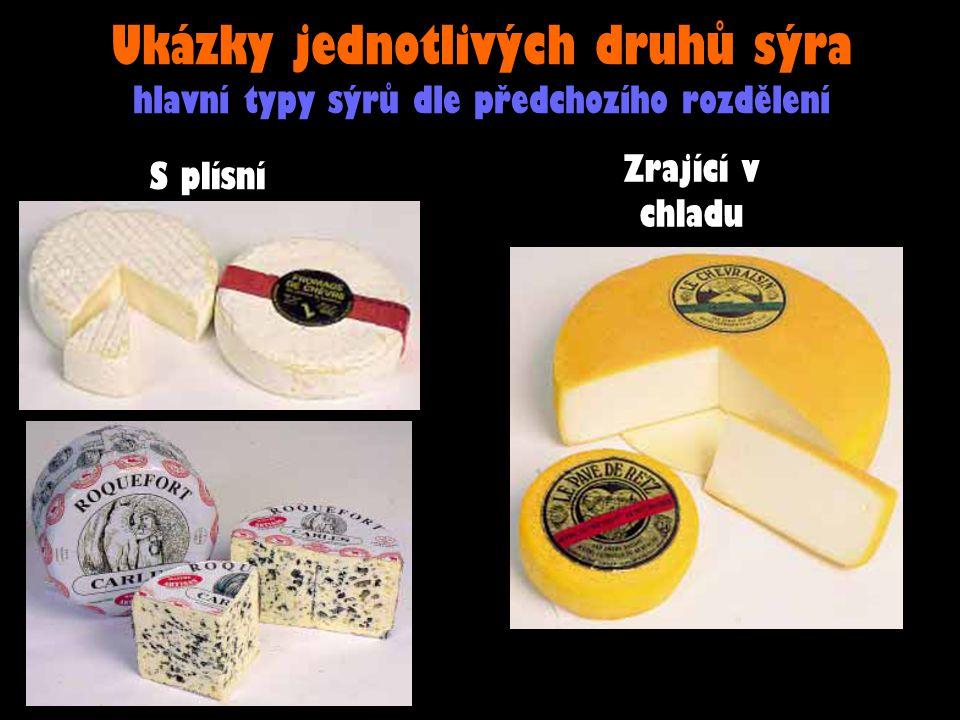 Ukázky jednotlivých druhů sýra hlavní typy sýrů dle předchozího rozdělení S plísní Zrající v chladu