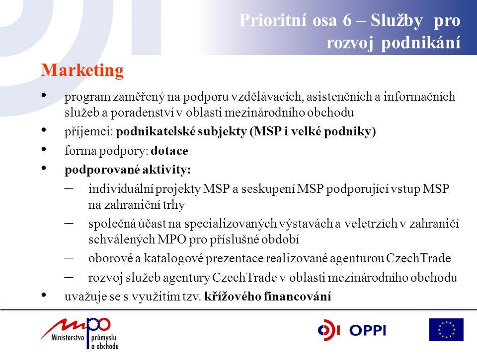 Marketing program zaměřený na podporu vzdělávacích, asistenčních a informačních služeb a poradenství v oblasti mezinárodního obchodu příjemci: podnikatelské subjekty (MSP i velké podniky) forma podpory: dotace podporované aktivity: – individuální projekty MSP a seskupení MSP podporující vstup MSP na zahraniční trhy – společná účast na specializovaných výstavách a veletrzích v zahraničí schválených MPO pro příslušné období – oborové a katalogové prezentace realizované agenturou CzechTrade – rozvoj služeb agentury CzechTrade v oblasti mezinárodního obchodu uvažuje se s využitím tzv.