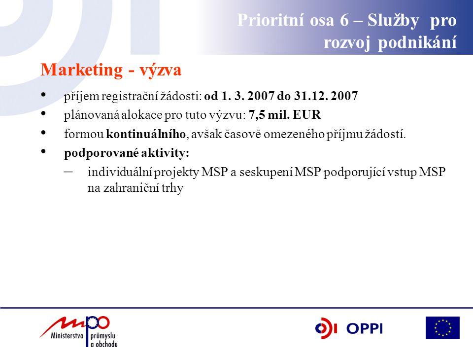 Marketing - výzva příjem registrační žádosti: od 1.