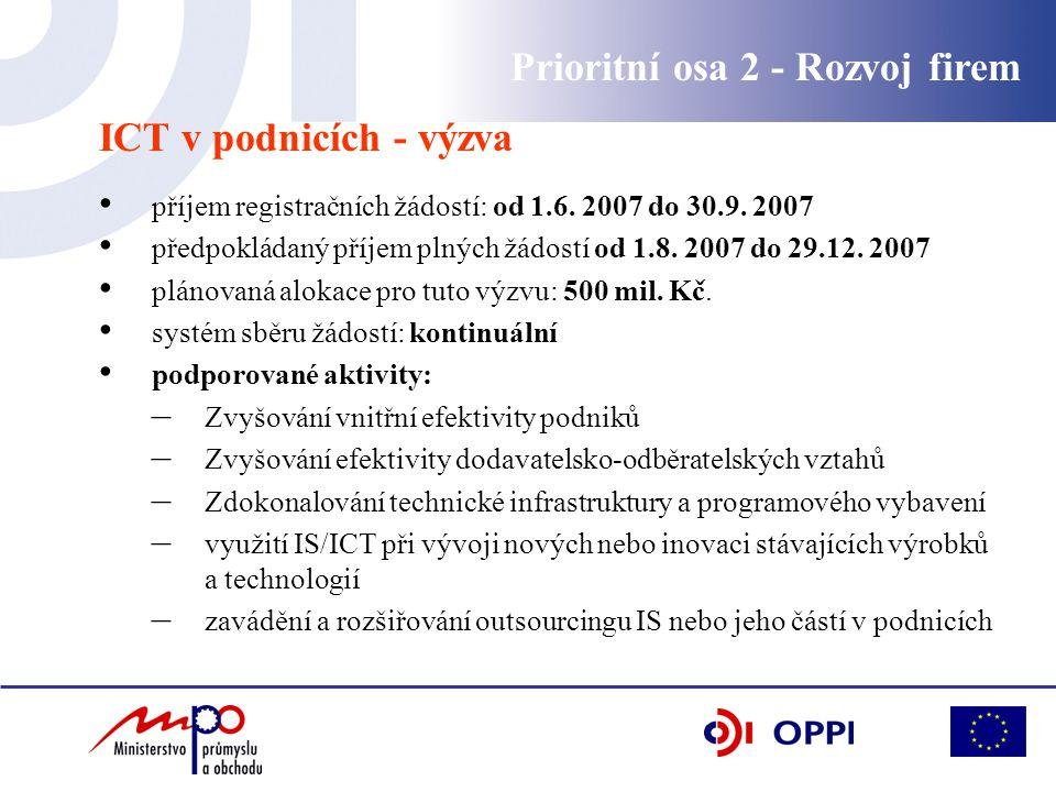 Prioritní osa 2 - Rozvoj firem ICT v podnicích - výzva příjem registračních žádostí: od 1.6.