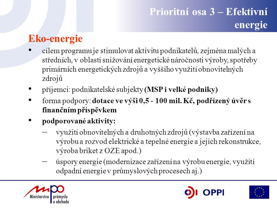 Prioritní osa 3 – Efektivní energie Eko-energie cílem programu je stimulovat aktivitu podnikatelů, zejména malých a středních, v oblasti snižování energetické náročnosti výroby, spotřeby primárních energetických zdrojů a vyššího využití obnovitelných zdrojů příjemci: podnikatelské subjekty (MSP i velké podniky) forma podpory: dotace ve výši 0,5 - 100 mil.