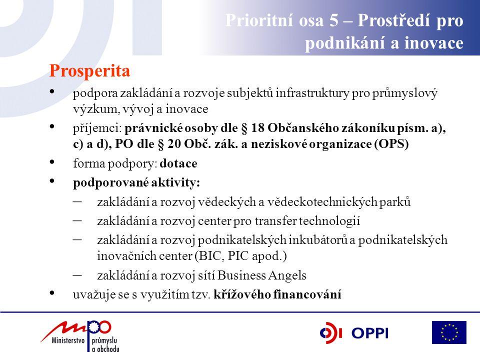 Prosperita podpora zakládání a rozvoje subjektů infrastruktury pro průmyslový výzkum, vývoj a inovace příjemci: právnické osoby dle § 18 Občanského zákoníku písm.