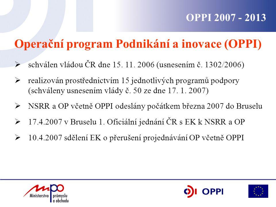 OPPI 2007 - 2013 Operační program Podnikání a inovace (OPPI)  schválen vládou ČR dne 15.