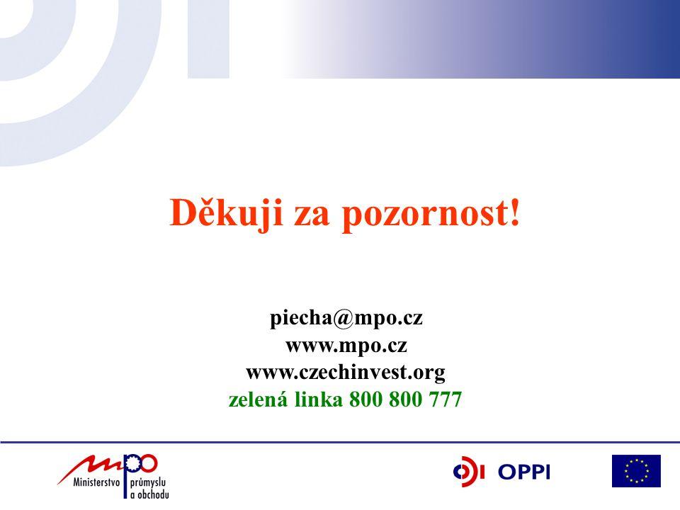 Děkuji za pozornost! piecha@mpo.cz www.mpo.cz www.czechinvest.org zelená linka 800 800 777