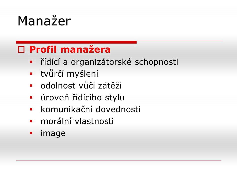 Manažer  Profil manažera  řídící a organizátorské schopnosti  tvůrčí myšlení  odolnost vůči zátěži  úroveň řídícího stylu  komunikační dovednosti  morální vlastnosti  image