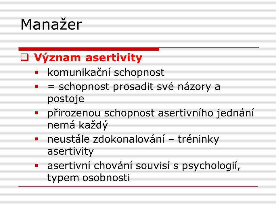 Manažer  Význam asertivity  komunikační schopnost  = schopnost prosadit své názory a postoje  přirozenou schopnost asertivního jednání nemá každý  neustále zdokonalování – tréninky asertivity  asertivní chování souvisí s psychologií, typem osobnosti