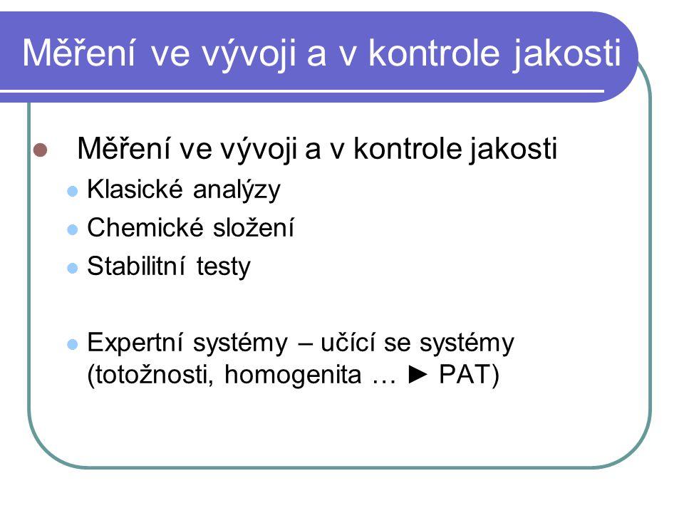Měření ve vývoji a v kontrole jakosti Klasické analýzy Chemické složení Stabilitní testy Expertní systémy – učící se systémy (totožnosti, homogenita …