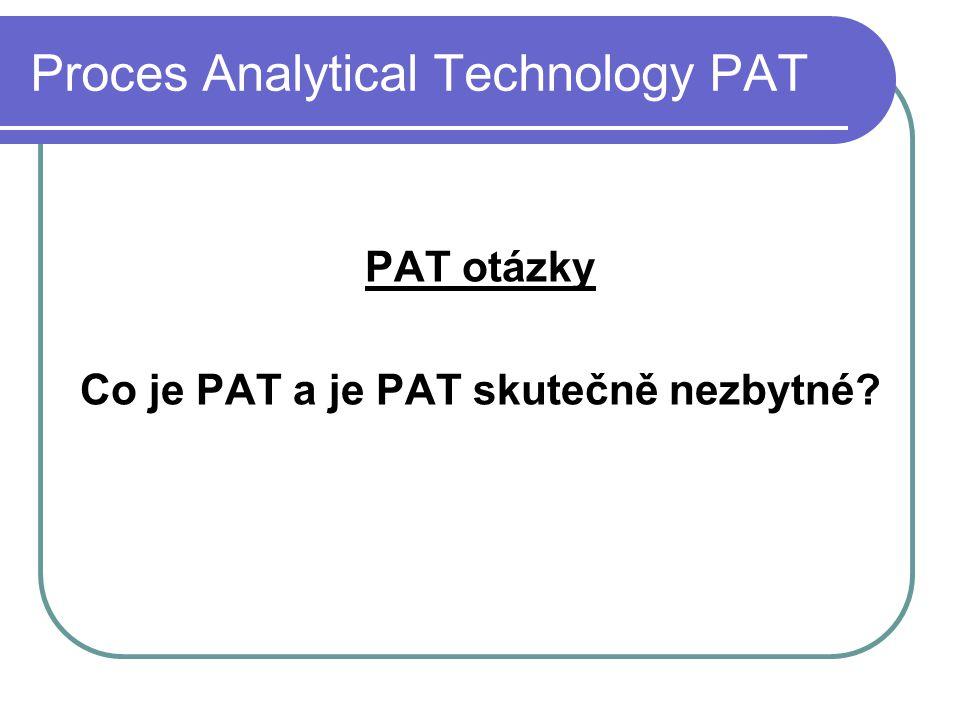 Proces Analytical Technology PAT PAT otázky Co je PAT a je PAT skutečně nezbytné?