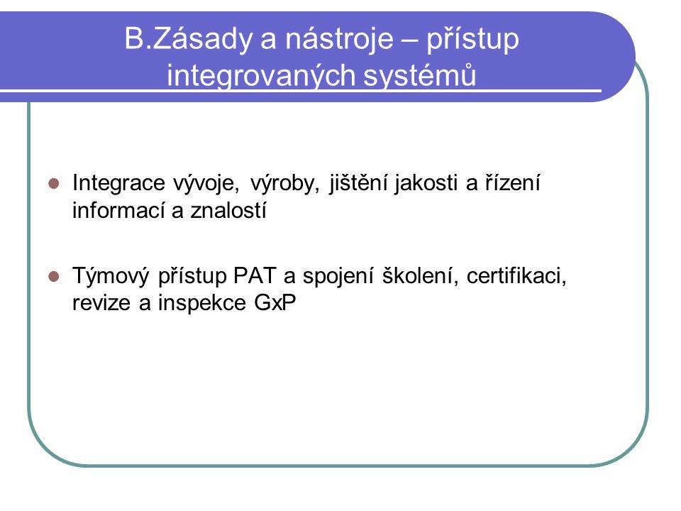 B.Zásady a nástroje – přístup integrovaných systémů Integrace vývoje, výroby, jištění jakosti a řízení informací a znalostí Týmový přístup PAT a spoje