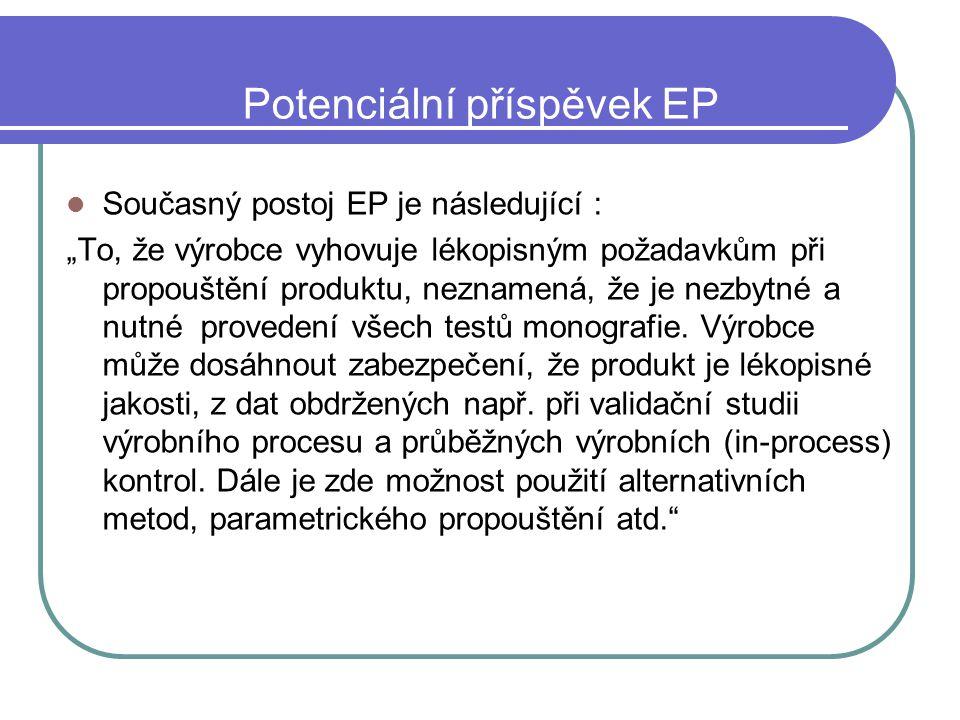 """Potenciální příspěvek EP Současný postoj EP je následující : """"To, že výrobce vyhovuje lékopisným požadavkům při propouštění produktu, neznamená, že je"""