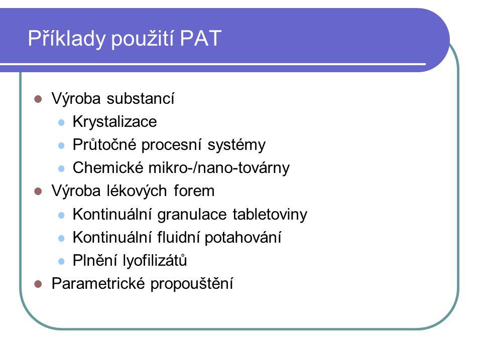 Příklady použití PAT Výroba substancí Krystalizace Průtočné procesní systémy Chemické mikro-/nano-továrny Výroba lékových forem Kontinuální granulace