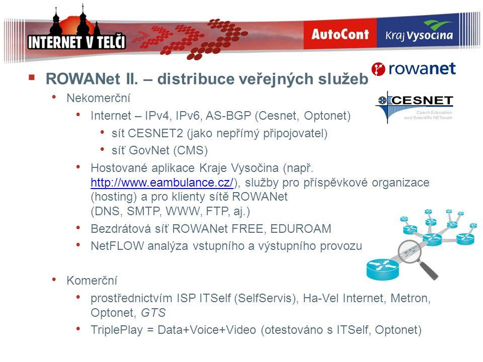  ROWANet II. – distribuce veřejných služeb Nekomerční Internet – IPv4, IPv6, AS-BGP (Cesnet, Optonet) sít CESNET2 (jako nepřímý připojovatel) síť Gov