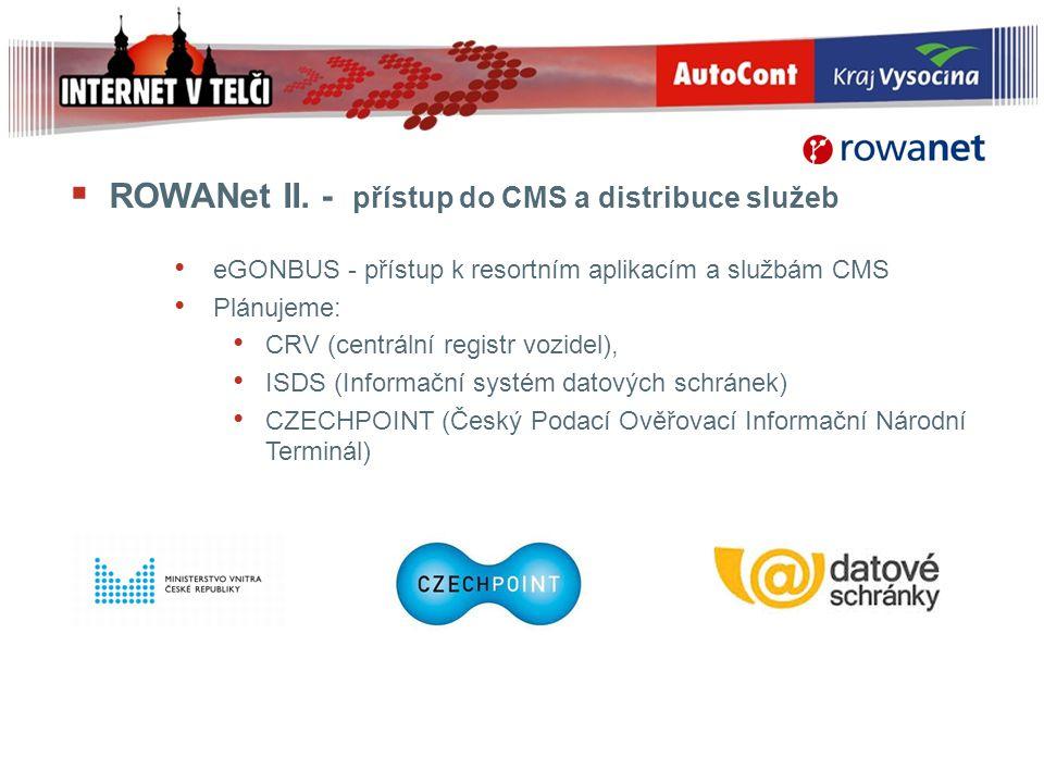  ROWANet II. - přístup do CMS a distribuce služeb eGONBUS - přístup k resortním aplikacím a službám CMS Plánujeme: CRV (centrální registr vozidel), I