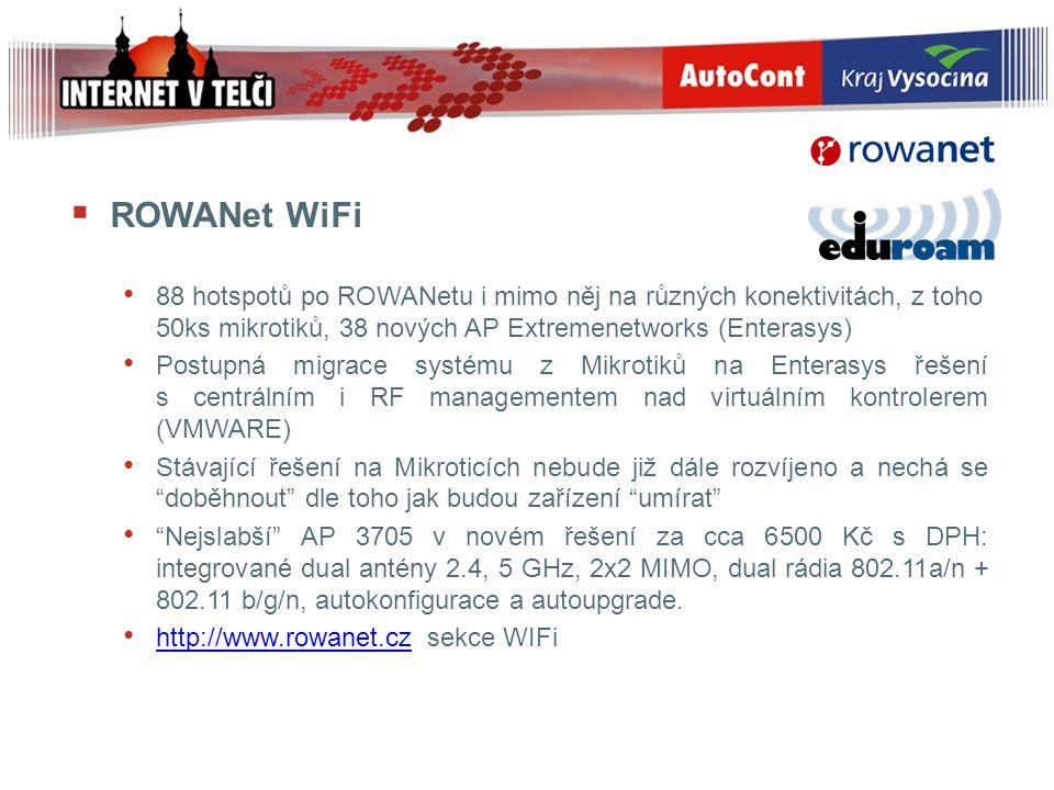 ROWANet WiFi 88 hotspotů po ROWANetu i mimo něj na různých konektivitách, z toho 50ks mikrotiků, 38 nových AP Extremenetworks (Enterasys) Postupná m