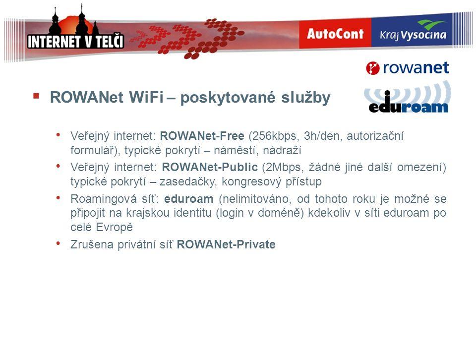  ROWANet WiFi – poskytované služby Veřejný internet: ROWANet-Free (256kbps, 3h/den, autorizační formulář), typické pokrytí – náměstí, nádraží Veřejný