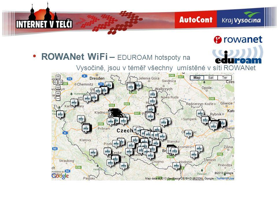 ROWANet WiFi – EDUROAM hotspoty na Vysočině, jsou v téměř všechny umístěné v síti ROWANet