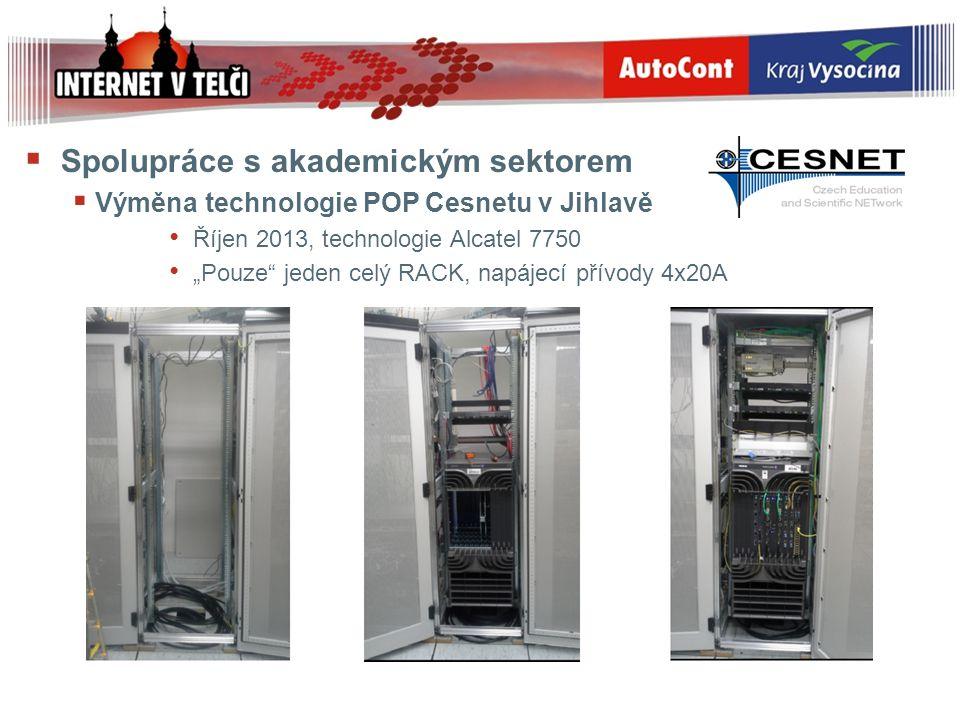 """ Spolupráce s akademickým sektorem  Výměna technologie POP Cesnetu v Jihlavě Říjen 2013, technologie Alcatel 7750 """"Pouze"""" jeden celý RACK, napájecí"""