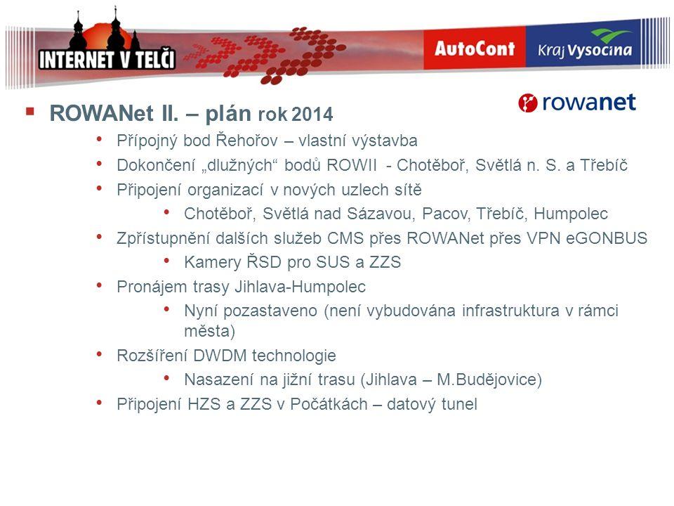 """ ROWANet II. – plán rok 2014 Přípojný bod Řehořov – vlastní výstavba Dokončení """"dlužných"""" bodů ROWII - Chotěboř, Světlá n. S. a Třebíč Připojení orga"""