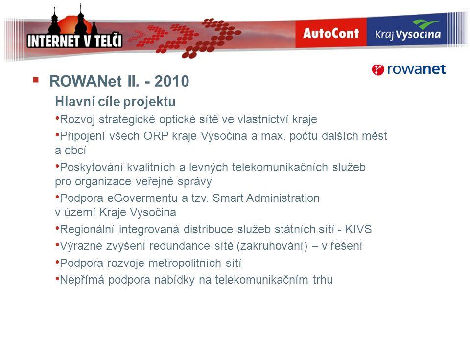  ROWANet II. - 2010 Hlavní cíle projektu Rozvoj strategické optické sítě ve vlastnictví kraje Připojení všech ORP kraje Vysočina a max. počtu dalších