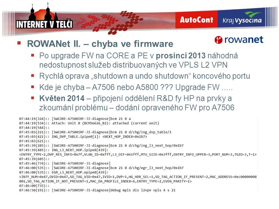  ROWANet II. – chyba ve firmware  Po upgrade FW na CORE a PE v prosinci 2013 náhodná nedostupnost služeb distribuovaných ve VPLS L2 VPN  Rychlá opr