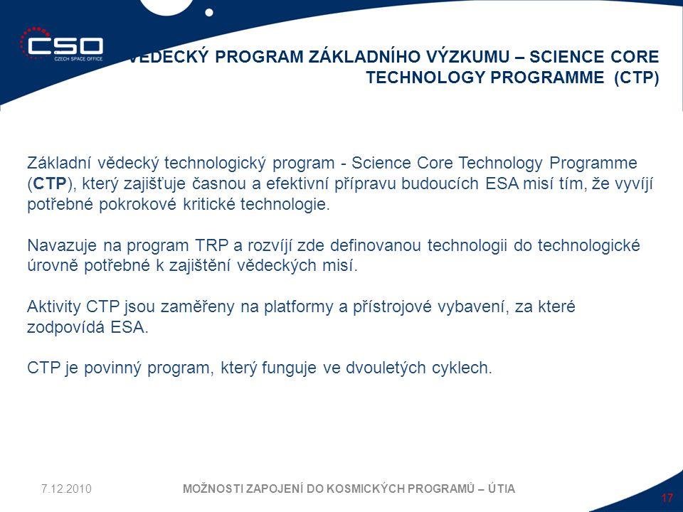 17 VĚDECKÝ PROGRAM ZÁKLADNÍHO VÝZKUMU – SCIENCE CORE TECHNOLOGY PROGRAMME (CTP) MOŽNOSTI ZAPOJENÍ DO KOSMICKÝCH PROGRAMŮ – ÚTIA Základní vědecký techn