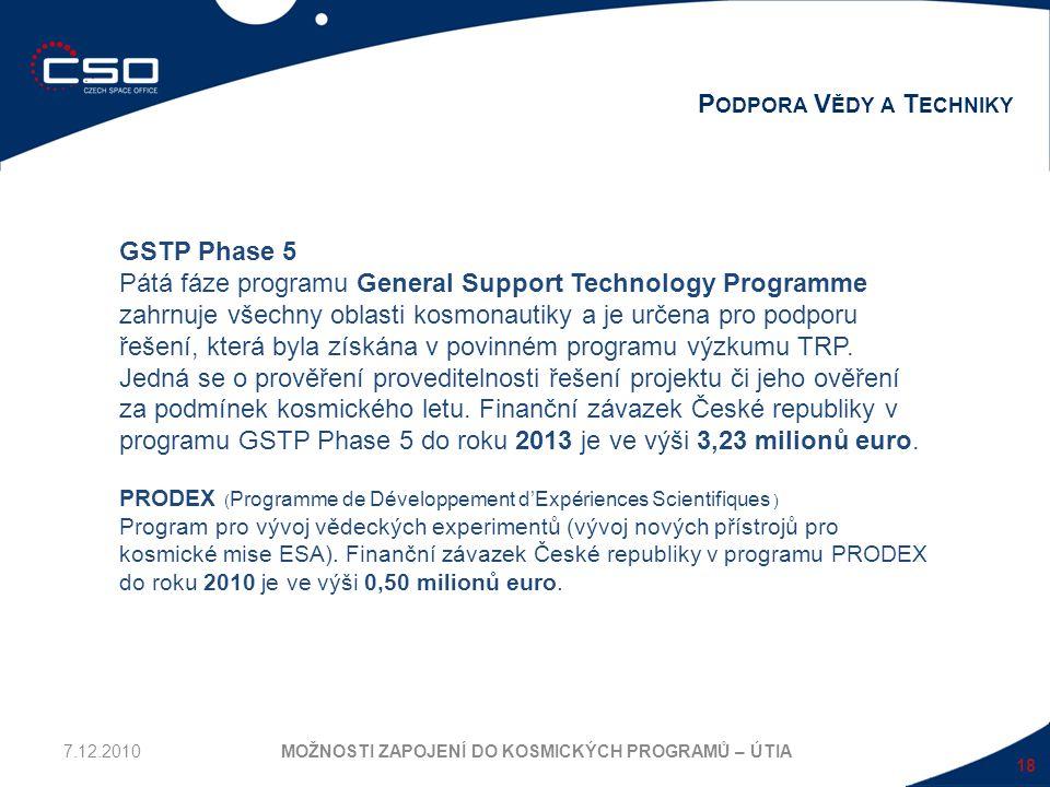 18 P ODPORA V ĚDY A T ECHNIKY MOŽNOSTI ZAPOJENÍ DO KOSMICKÝCH PROGRAMŮ – ÚTIA GSTP Phase 5 Pátá fáze programu General Support Technology Programme zah