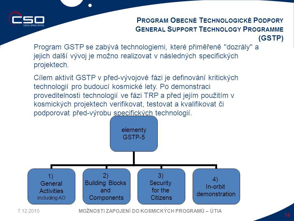 19 P ROGRAM O BECNÉ T ECHNOLOGICKÉ P ODPORY G ENERAL S UPPORT T ECHNOLOGY P ROGRAMME (GSTP) MOŽNOSTI ZAPOJENÍ DO KOSMICKÝCH PROGRAMŮ – ÚTIA Program GS