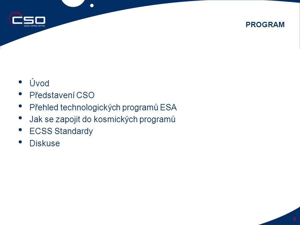 Úvod Představení CSO Přehled technologických programů ESA Jak se zapojit do kosmických programů ECSS Standardy Diskuse 2 PROGRAM