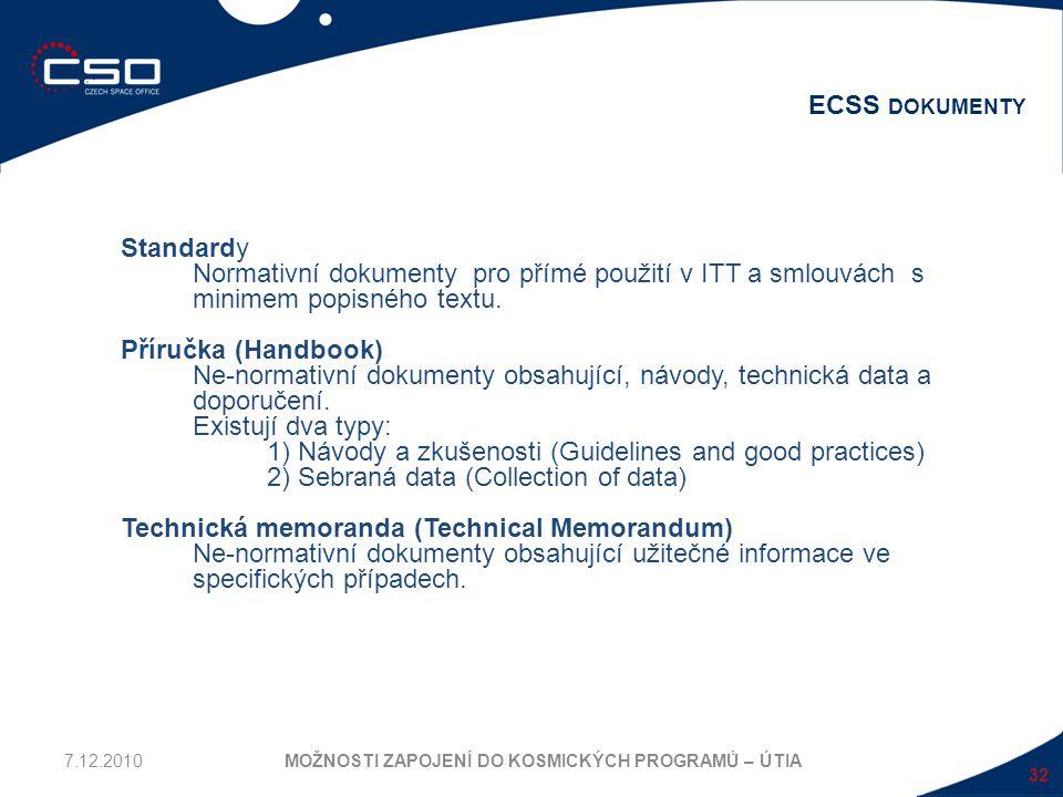 32 ECSS DOKUMENTY MOŽNOSTI ZAPOJENÍ DO KOSMICKÝCH PROGRAMŮ – ÚTIA Standardy Normativní dokumenty pro přímé použití v ITT a smlouvách s minimem popisné
