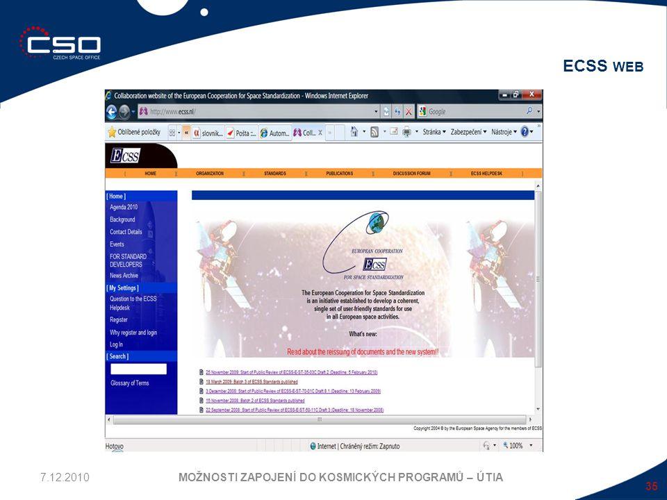 35 ECSS WEB MOŽNOSTI ZAPOJENÍ DO KOSMICKÝCH PROGRAMŮ – ÚTIA7.12.2010