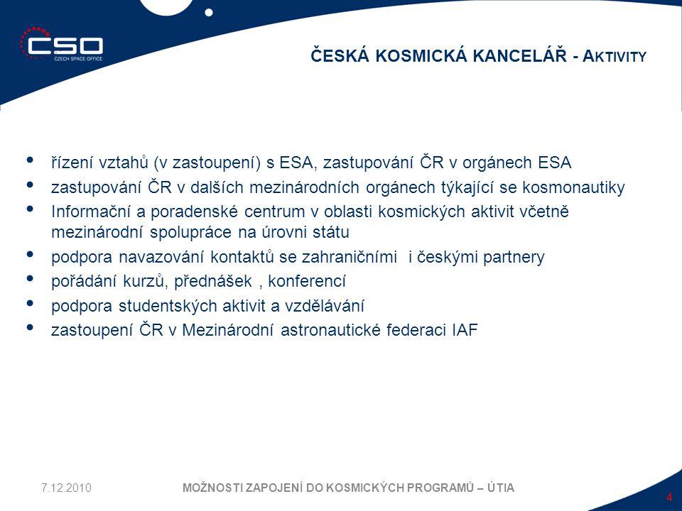 řízení vztahů (v zastoupení) s ESA, zastupování ČR v orgánech ESA zastupování ČR v dalších mezinárodních orgánech týkající se kosmonautiky Informační