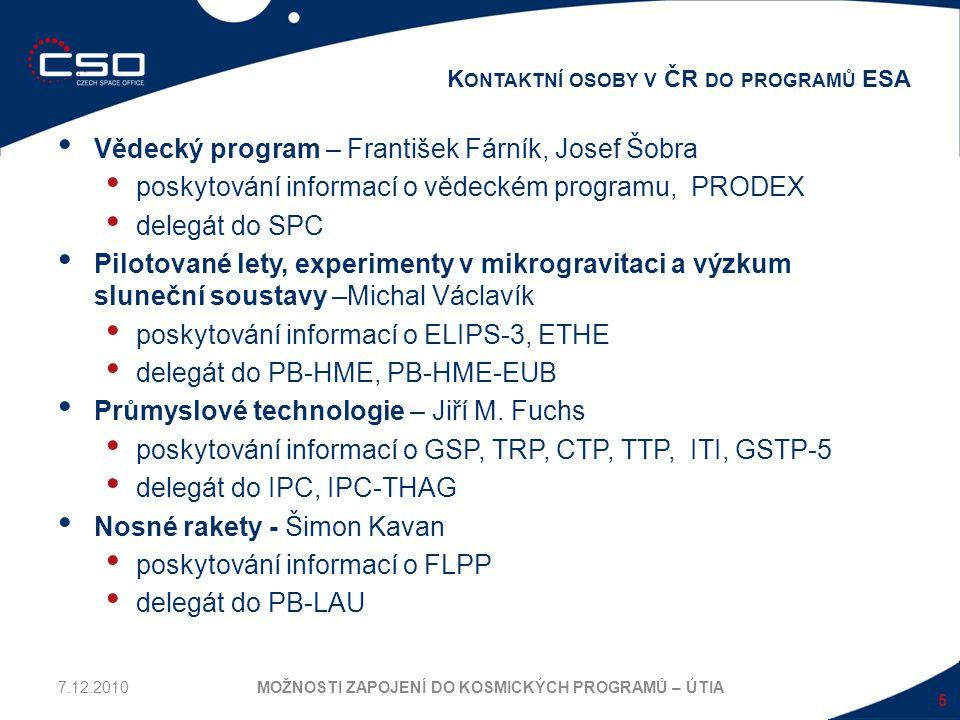 Vědecký program – František Fárník, Josef Šobra poskytování informací o vědeckém programu, PRODEX delegát do SPC Pilotované lety, experimenty v mikrog