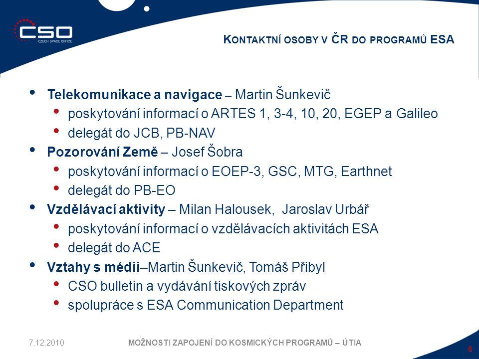 Telekomunikace a navigace – Martin Šunkevič poskytování informací o ARTES 1, 3-4, 10, 20, EGEP a Galileo delegát do JCB, PB-NAV Pozorování Země – Jose