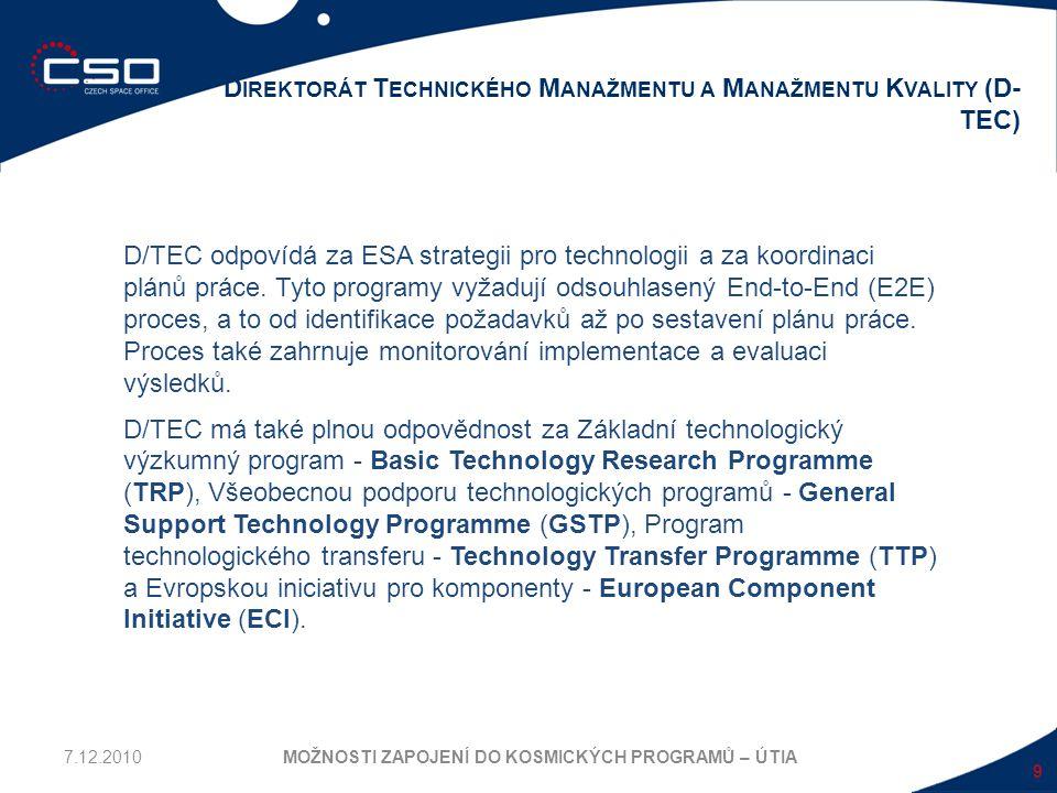 10 TECHNOLOGICKÝ VÝVOJOVÝ PROCES MOŽNOSTI ZAPOJENÍ DO KOSMICKÝCH PROGRAMŮ – ÚTIA Technologický vývoj v ESA je zahrnut ve dvou programech: Základní technologický výzkumný program Basic Technology Research Programme (TRP) a Specifický technologický program Specific Technology Programmes (STPs).