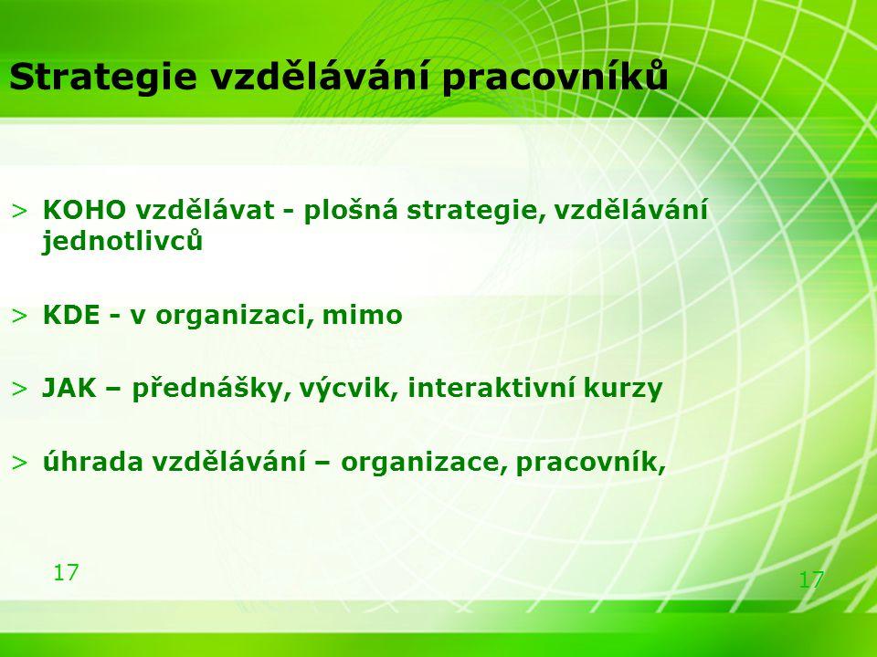 17 >KOHO vzdělávat - plošná strategie, vzdělávání jednotlivců >KDE - v organizaci, mimo >JAK – přednášky, výcvik, interaktivní kurzy >úhrada vzděláván