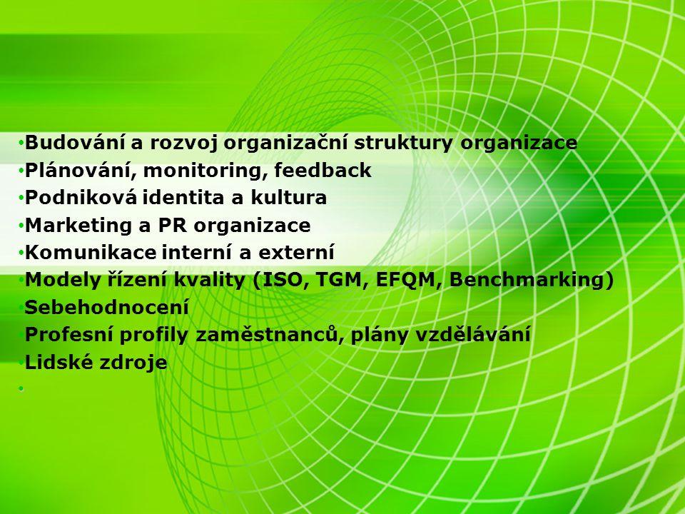 Budování a rozvoj organizační struktury organizace Plánování, monitoring, feedback Podniková identita a kultura Marketing a PR organizace Komunikace i