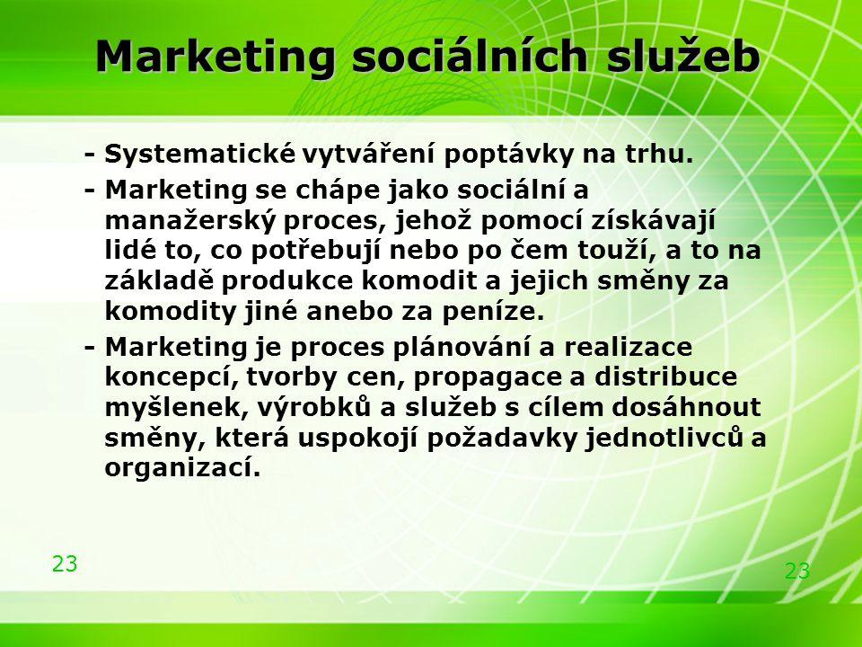 23 Marketing sociálních služeb - Systematické vytváření poptávky na trhu. - Marketing se chápe jako sociální a manažerský proces, jehož pomocí získáva