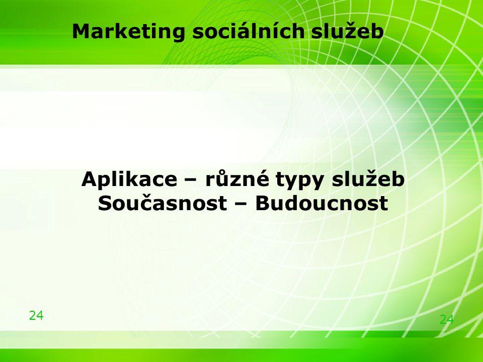 24 Marketing sociálních služeb Aplikace – různé typy služeb Současnost – Budoucnost