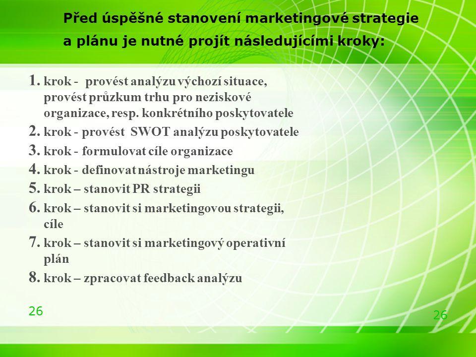 26 Před úspěšné stanovení marketingové strategie a plánu je nutné projít následujícími kroky: 1. krok - provést analýzu výchozí situace, provést průzk