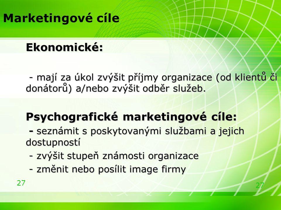 27 Marketingové cíle Ekonomické: Ekonomické: - mají za úkol zvýšit příjmy organizace (od klientů či donátorů) a/nebo zvýšit odběr služeb. - mají za úk