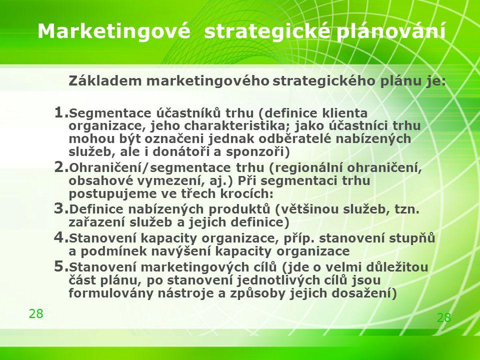 28 Marketingové strategické plánování Základem marketingového strategického plánu je: 1. Segmentace účastníků trhu (definice klienta organizace, jeho