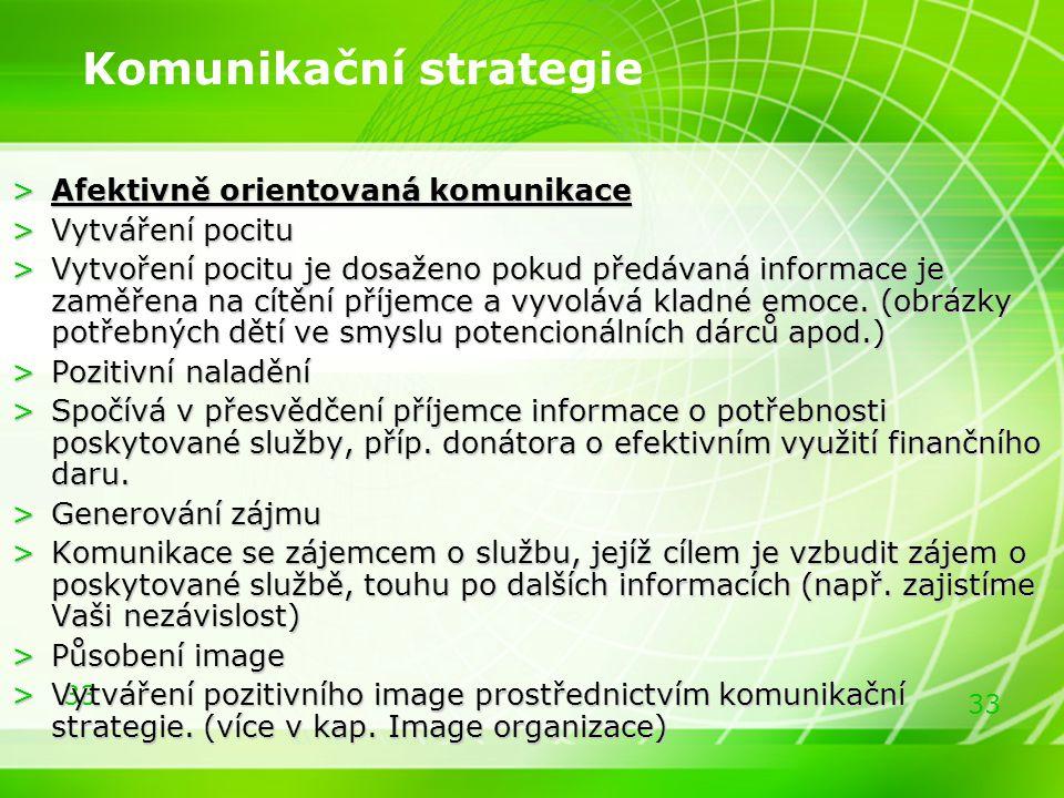 33 Komunikační strategie >Afektivně orientovaná komunikace >Vytváření pocitu >Vytvoření pocitu je dosaženo pokud předávaná informace je zaměřena na cí
