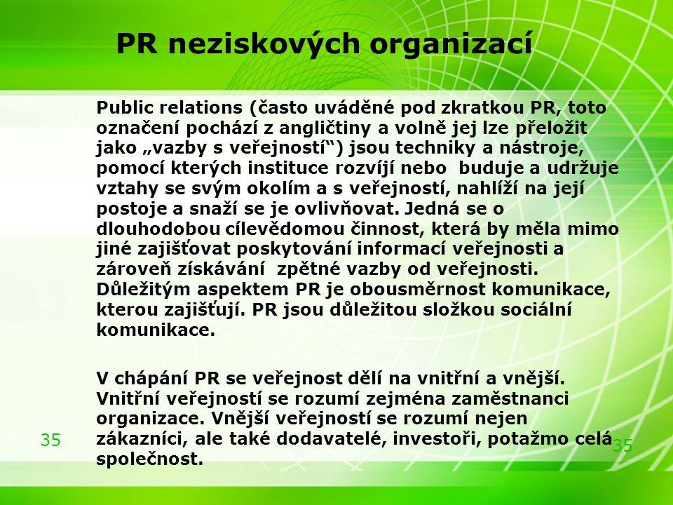 """35 PR neziskových organizací Public relations (často uváděné pod zkratkou PR, toto označení pochází z angličtiny a volně jej lze přeložit jako """"vazby"""