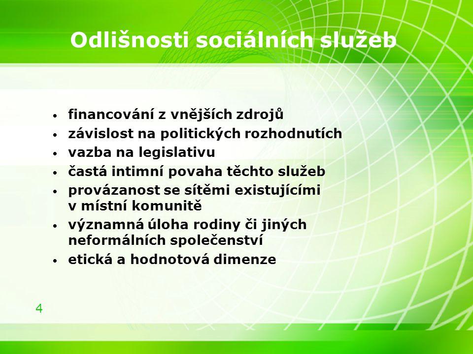 4 Odlišnosti sociálních služeb financování z vnějších zdrojů závislost na politických rozhodnutích vazba na legislativu častá intimní povaha těchto sl