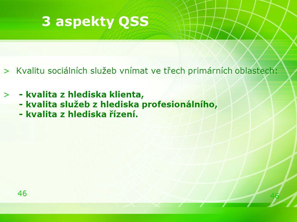 46 >Kvalitu sociálních služeb vnímat ve třech primárních oblastech: > - kvalita z hlediska klienta, - kvalita služeb z hlediska profesionálního, - kva