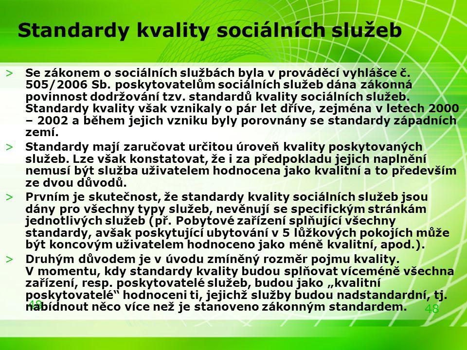 48 Standardy kvality sociálních služeb >Se zákonem o sociálních službách byla v prováděcí vyhlášce č. 505/2006 Sb. poskytovatelům sociálních služeb dá