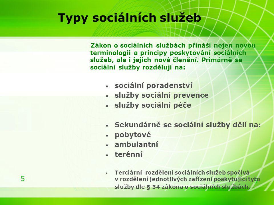 5 5 Typy sociálních služeb Zákon o sociálních službách přináší nejen novou terminologii a principy poskytování sociálních služeb, ale i jejich nové čl
