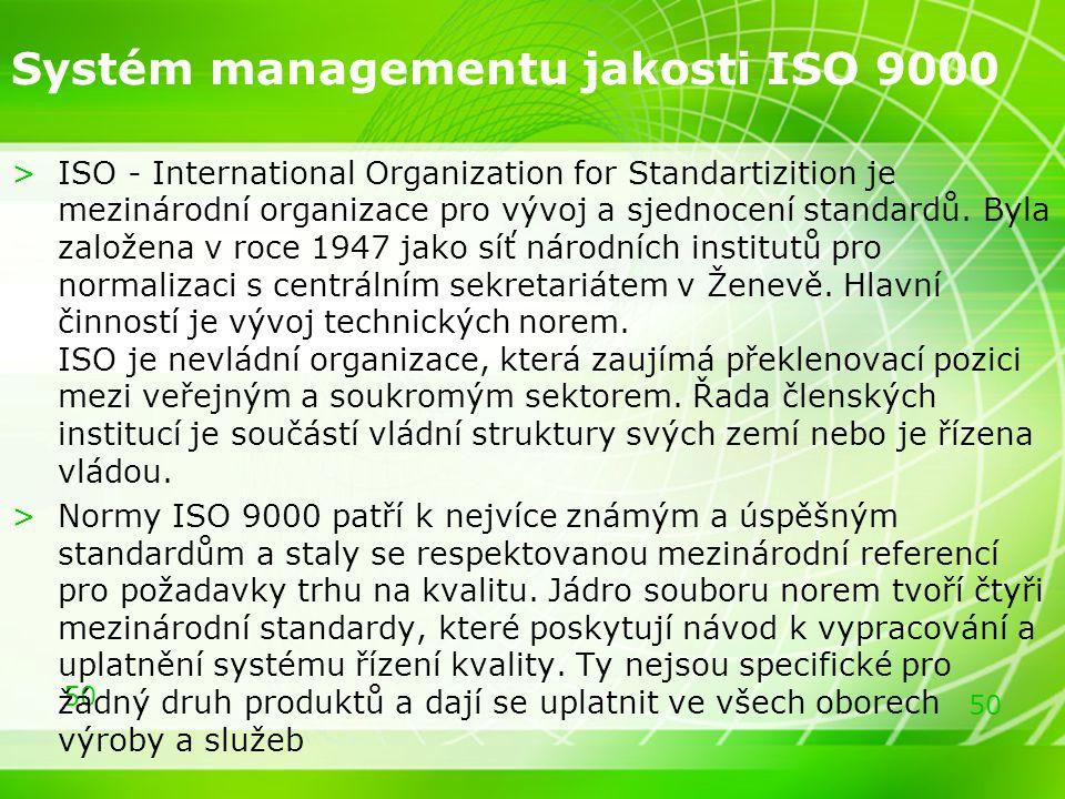 50 Systém managementu jakosti ISO 9000 >ISO - International Organization for Standartizition je mezinárodní organizace pro vývoj a sjednocení standard