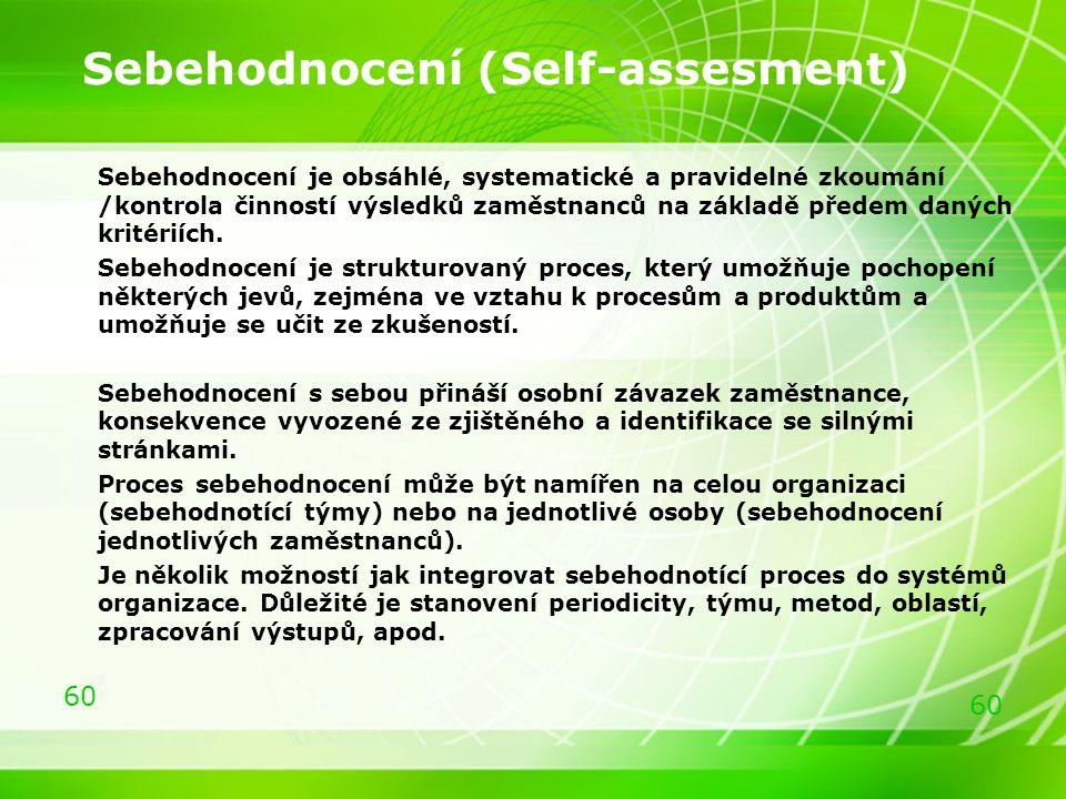 60 Sebehodnocení (Self-assesment) Sebehodnocení je obsáhlé, systematické a pravidelné zkoumání /kontrola činností výsledků zaměstnanců na základě před