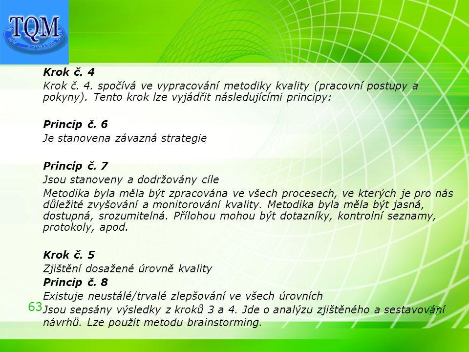 63 Krok č. 4 Krok č. 4. spočívá ve vypracování metodiky kvality (pracovní postupy a pokyny). Tento krok lze vyjádřit následujícími principy: Princip č